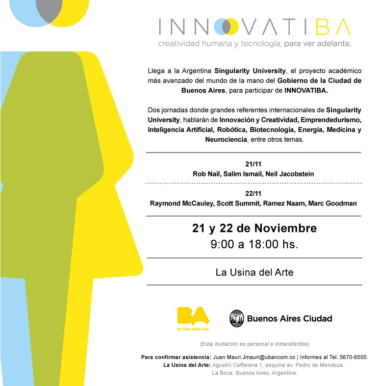Invitación INNOVATIBA- 21 Y 22 de noviembre- La Usina del Arte