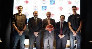 Fabricio Oberto, Federico Susbielles, Iván Ferrando, Fabián Borro y Agustín Caffaro en la presentación oficial del sponsoreo de La Caja